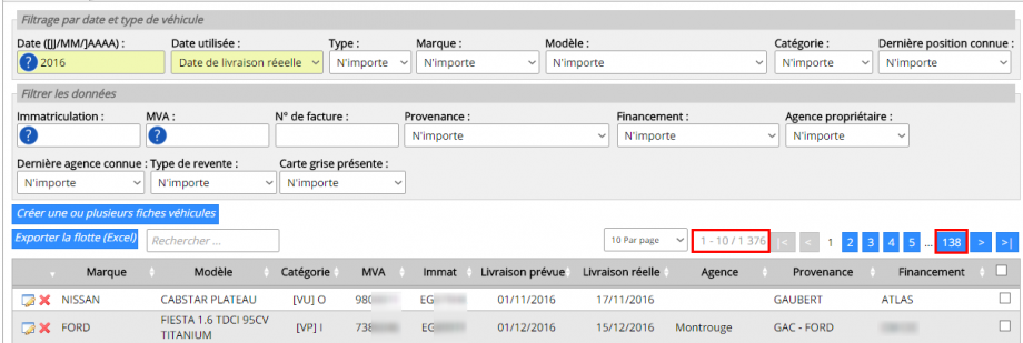 Les 1376 fiches renvoyées par le filtre seront exportées